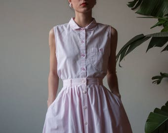 80s pink cotton full skirt set / sleeveless cotton midi skirt set / m  / 3103t / B5
