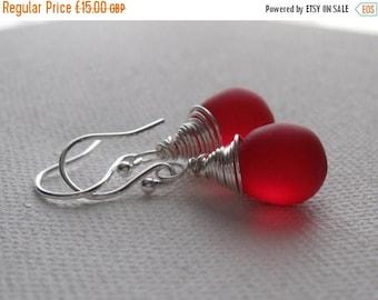 ON SALE Red Berry Teardrop Earrings. Sterling Silver Wire Wrapped Earrings. Frosted Red Contemporary Earrings. Fashion Wedding Jewellery. UK
