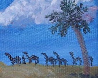 Miniature painting Clouds on the Desert original acrylic on canvas