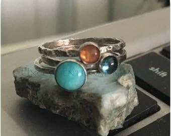 Stacking Ring Set, Stacking Rings, Gemstone Stacking Ring, SET - 6mm Amazonite, 4mm London Blue Topaz, 4mm Sunstone Stacking Ring Set