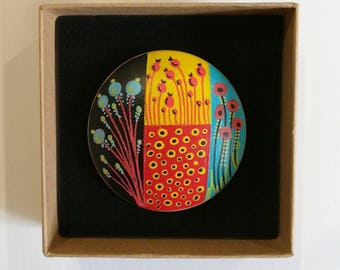 Hand painted mid century modern scandinavian style natural wood statement brooch black red turquoise yellow
