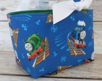 READY TO SHIP - Easter Fabric Basket Bin Bucket Candy Egg Hunt Storage Container - Thomas the Train / Percy Small Engine