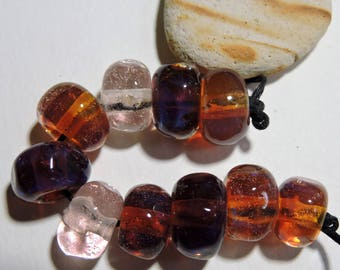 Handmade Lampwork Glass Borosilicate Beads AMBER COLLECTION Two Sisters Designs 072617M