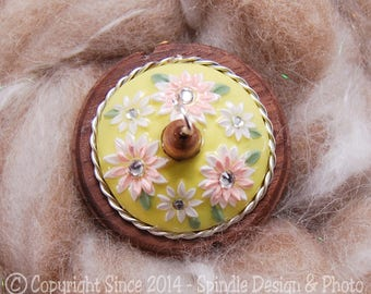 The Clay Sheep Drop Spindle - LIMITED EDITION - Yellow Flower Top Whorl Drop Spindle - Small .85 oz