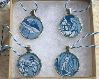 Nancy Drew Mini Medallions or Ornaments  Vintage Book End Papers Blue and White Baker's Twine 1 set of 4