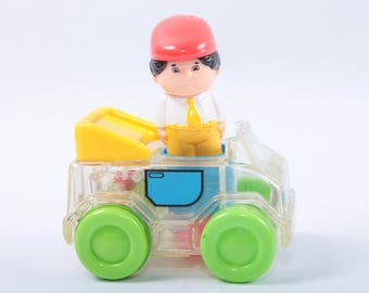 Hasbro, Playskool, Vintage, Toy, Transparent, Clear, Car, Green Wheels, Engineer Figurine, Plastic ~ The Pink Room ~ 161123C