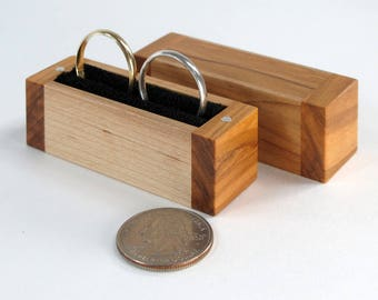 Olive Wood and Maple Wood Handmade Two Ring Box, for Wedding or Engagement