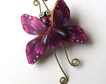 Butterfly Brooch Polymer Clay Jewelry Purple and Blue Bug Pin