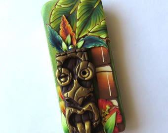 Island Tiki Slide Top Tin, Sewing Pin Box Polymer Clay Covered Tin, Magnetic Needle Case Art Collectible