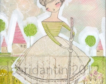 ON SALE gardener - girl in the garden-archival - limited edition print of a watercolor by cori dantini