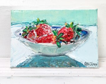 Strawberries for One original mixed media still life painting by Polly Jones