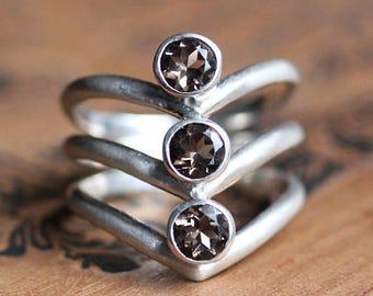 Smoky topaz ring, silver arrow ring, brown topaz ring, silver chevron ring, v ring, bezel gemstone ring, triple ring, ready to ship size 8.5
