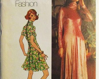 60% OFF SALE 1970s Vintage Sewing Pattern Simplicity 5184 Misses Dress Pattern Size 12 Bust 34