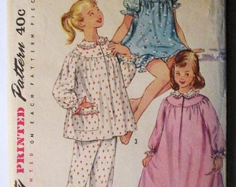 30% OFF SALE 1950s Vintage Sewing Pattern Simplicity 1828 Girls Pajamas & Nightgown Pattern Size 12