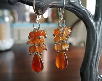 Carnelian Cluster and Teardrop Genuine Stone Earrings
