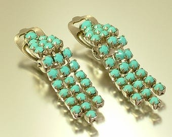 Vintage/ estate 1950s chrome and turquoise glass tassel costume clip on earrings - jewelry jewellery