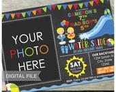 "Joint Water Slide Birthday Party Boy Girl Brother Sister Invitation Chalkboard Waterslide - Photo- DIGITAL Printable Invite - 5"" x 7"""