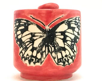 Butterfly Mug Black and White Marbled White on Red Handmade Stoneware Ceramic 12 Ounces Ready to Ship MG0069