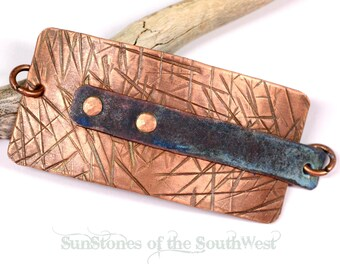Hand Forged Copper Bracelet Focal Component,  Bracelet Link, DIY Jewelry Making F1179