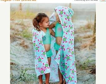 ON SALE Monogram Beach Towel for Kids - Hooded Beach Towel - Kids Hooded Towel - Personalized Beach Towels - Turtle Beach Towel