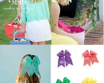 ON SALE Girl's hair bow plain or monogrammed comes in white, hot pink, yellow, coral, mint, purple, navy blue, green and gold - perfect for