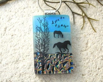 Horse Necklace, Fused Glass Jewelry, Dichroic  Pendant, Dichroic Glass Jewelry, Equestrian Jewelry,Blue Green Pendant, ccvalenzo, 080617p106