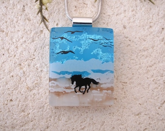 Petite Beach Horse Necklace, Dichroic Necklace, Equestrian, Dichroic Jewelry, Fused Glass Jewelry, Dichroic Pendant, ccvalenzo, 080817p103
