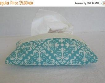 Flash Sale Teal Tissue Holder - Pocket Tissue Cozy - Modern Print Tissue Case