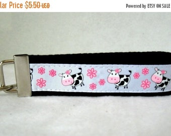 20% OFF Cows Key Fob - BLACK Key Chain - Cow Wristlet Keychain