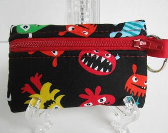Monsters Coin Purse - Change Purse - Monster Zip Pouch - Key Chain Coin Purse - Small Zipper Pouch - Monster Ear Bud Case