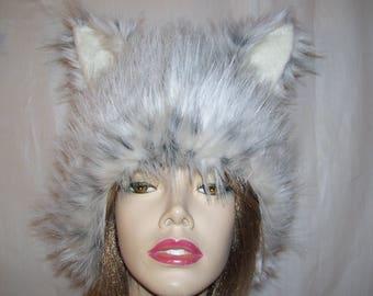 Bobcat Fur Hat Serval Palla's Cat Lynx Ear Furry Spotted Creature Animal Snow Leopard Halloween Costume Gray Cream Spot Adult Unisex Hat