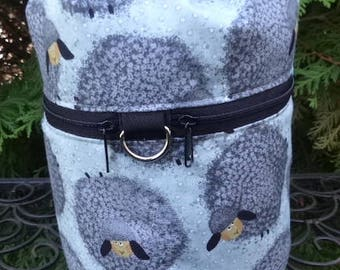 Knitting bag, drawstring bag, knitting in public bag, small project bag, Wooly Sheep, Kipster