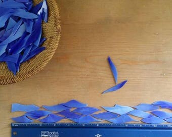 Sea Blue with White Wispy Glass Shards for Mosaic Art Designing