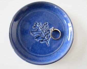 Ring Dish, spoon rest, saucer or tea bag holder, glazed in indigo blue, farmhouse decor