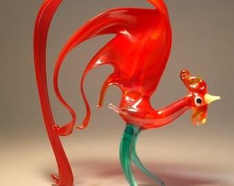 Handmade  Blown Glass Figurine Art Bird Red Tail ROOSTER Figurine