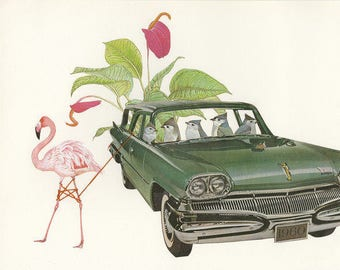 There is a tendency to go overboard when embarking on new hobbies.  Collage print by Vivienne Strauss.