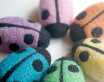 Montessori Counting Toy: Count Your Ladybugs (Needlefelted Wool Learning Toy, Set of 6)