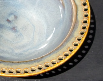 Handmade Earring Bowl Jewelry Holder in Stormy Grey and Amber