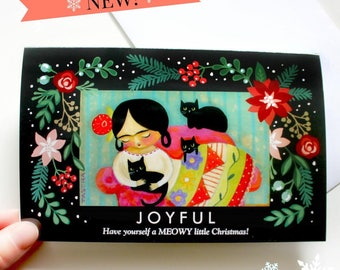Black Cat and Frida Christmas Card Funny MEOWY Christmas seasons greetings cat painting holiday card xmas frida kahlo