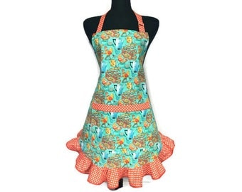 Retro Kitchen Apron for women with Ruffles , Aqua and Orange , Roosters and Polka Dots