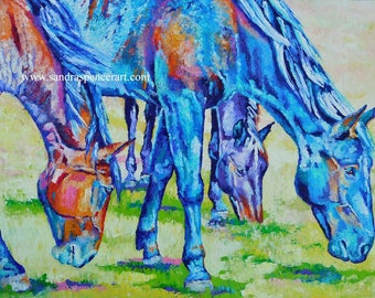 """Original Colorful Horse Friends Oil Painting 18""""x24"""" by Sandra Spencer"""""""