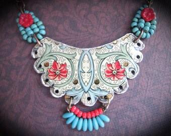 Bohemian Tin Necklace. Bohemian Bib Necklace. Tin Jewelry. Gypsy Tin Necklace
