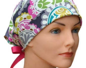 Surgical Scrub Hat Chemo Cap- The Mini- Boho with FUCHSIA RIBBON TIES