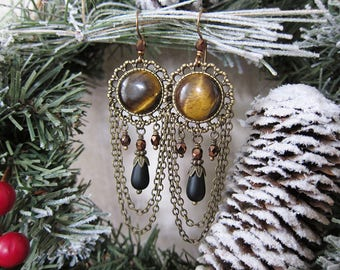Gilly's Tiger Eye - Ornate Tiger Eye and Matte Black Glass Chandelier Earrings in Antique Brass