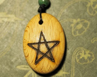 Beech Wood Pentagram Pendant  - on cord - for Knowledge- Pagan, Wicca, Witchcraft, Pentacle