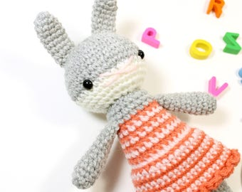 marlene .. girl rabbit doll, stuffed plush, plushie amigurumi bunny girl toy