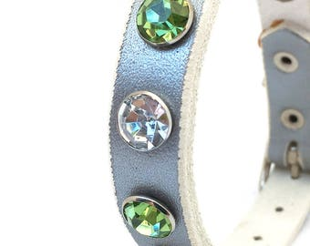 Silver Leather Dog Collar with Giant Rhinestones, Size XS/S, to fit a 8-11in Neck, Small Tiny Dog, EcoFriendly, Made in USA, OOAK