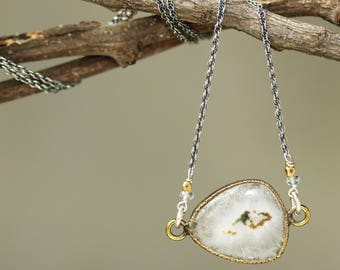 Teardrop Moss agate necklace in brass bezel setting with aquamarine beads on oxidized sterling silver chain