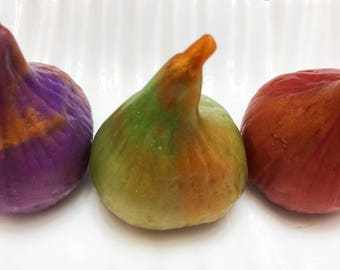 Fig Soap Set, Gift Wrapped, Gilded Fig, Fig Decor, Guest Soap, Handmade Soap, Vegan Soap, Ficus Soap, Ficus carica, Fig Gift, Fruit Soap