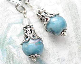 Aqua Blue Porcelain Bead Earrings - Antiqued Silver Ox Earrings
